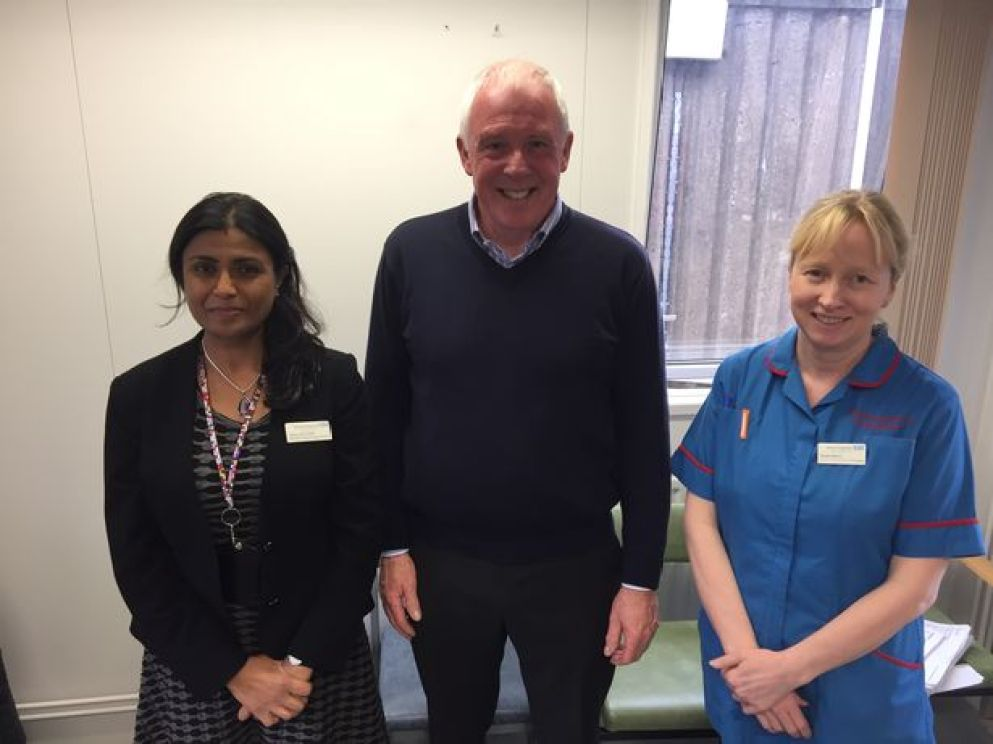 Photo of Jyoti Shah, consultant urological surgeon for Burton Hospitals NHS Foundation Trust, W Bro Michael Hitchcock, Vulcan Lodge Charity Steward as also the Derbyshire Provincial Grand Charity Steward, and Sarah Minns, a urology advanced nurse practitioner, are working together on the prostate screening programme