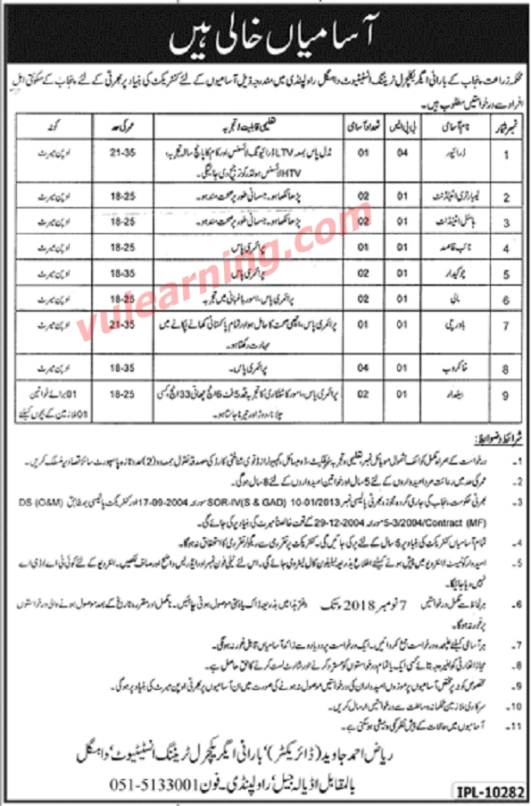 Barani Agricultural Training Institute Rawalpindi Jobs