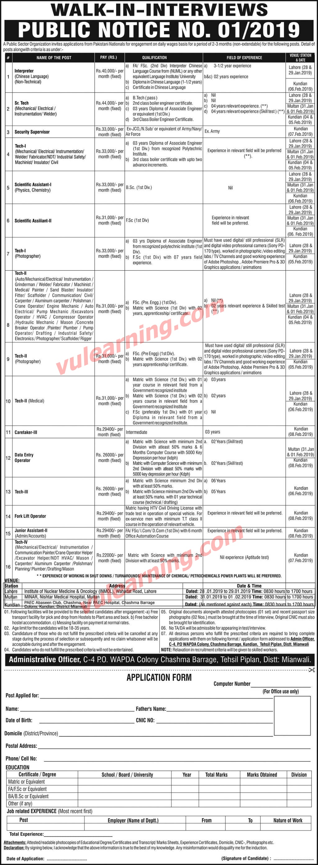 PAEC Mianwali Jobs 2019 Application Form Download C-4 PO