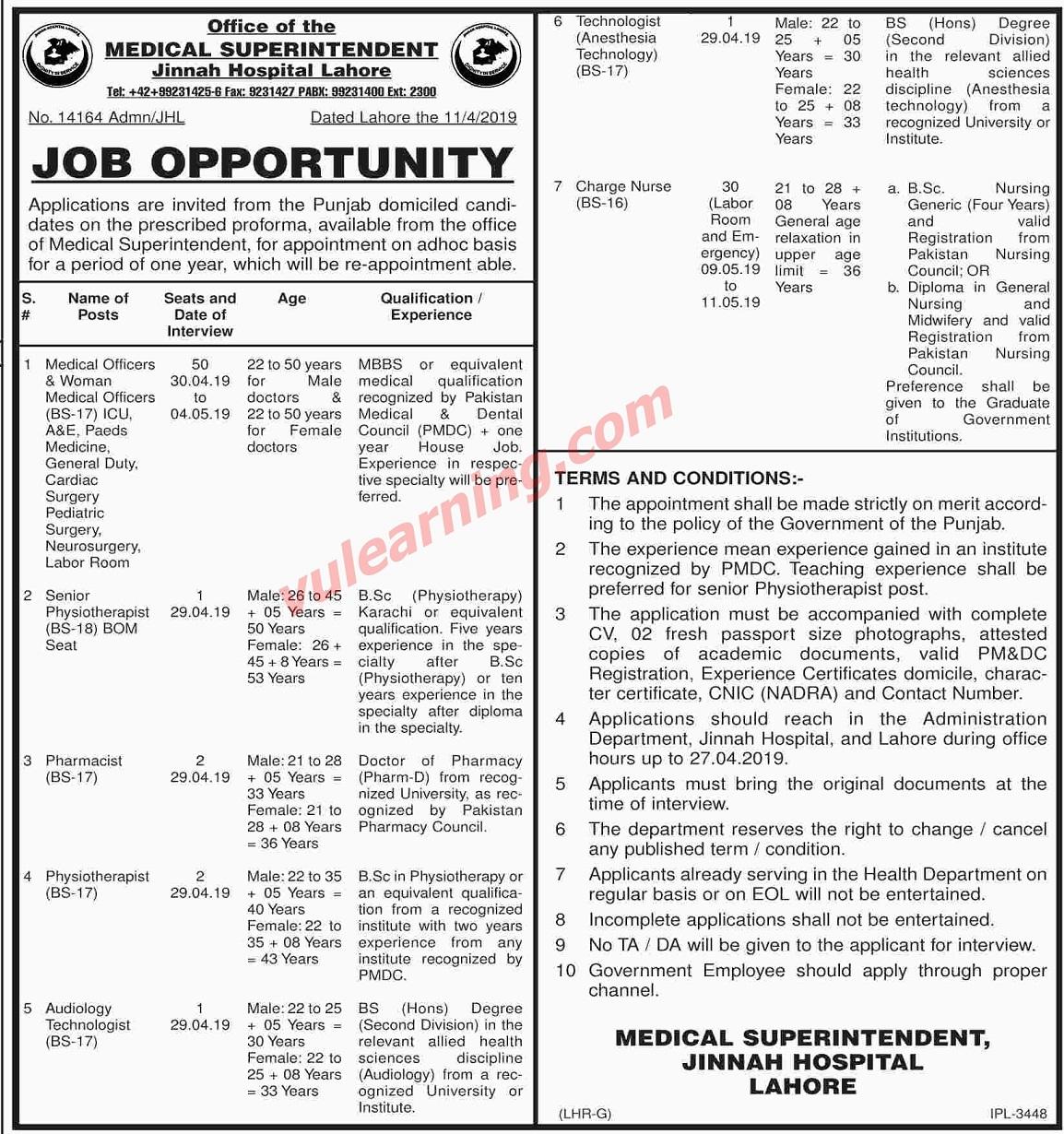 Jinnah Hospital Lahore Jobs 2019 for 87+ Charge Nurses