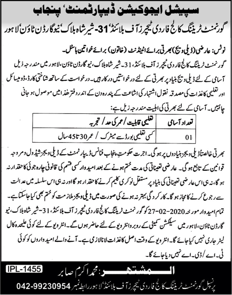 Punjab Special Education Department Jobs 2020 for Govt