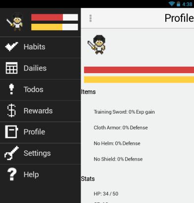 HabitRPG Android app UI