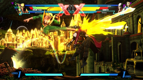 Marvel vs Capcom 3 Iron Fist kicking Dante