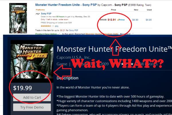 Amazon prices vs PSN