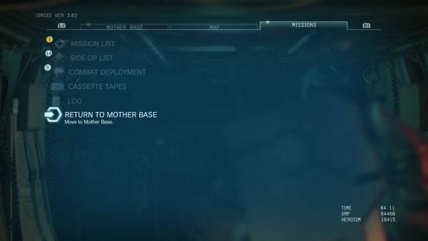 Metal Gear Solid V Missions iDroid Tab