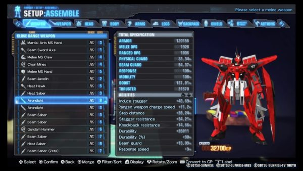 Gundam Breaker 3 Setup menu to customize mech