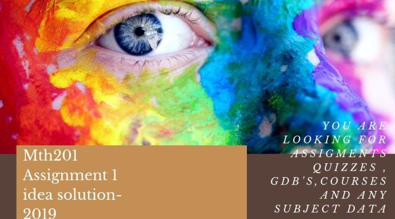 Sta404 Assignment 1 idea solution 2019