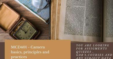 MCD401 - Camera basics, principles and practices