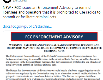 BREAKING: Another FCC warning. Do not use the radio for criminal acts