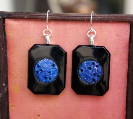 Earrings made with mid century glass medallions