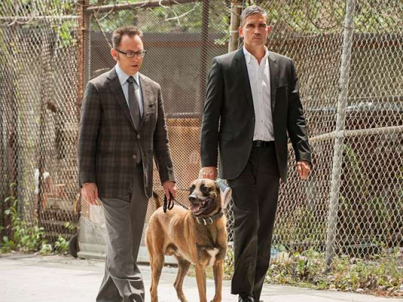 Finch (Emerson), Reese (Caviezel), and Bear. Image courtesy of CBS