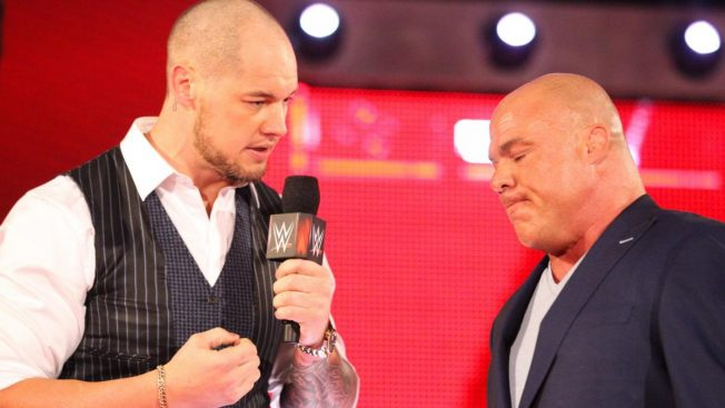 Kurt Angle and Baron Corbin with newly shaved head