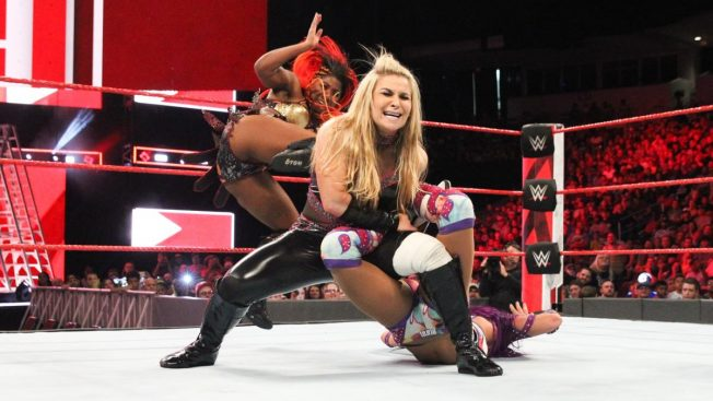 Natalya's sharpshooter on Sasha Banks broken by Ember Moon