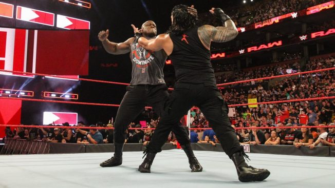 Roman Reigns and Bobby Lashley fight