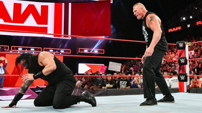 Brock Lesnar stalks a blinded Roman Reigns