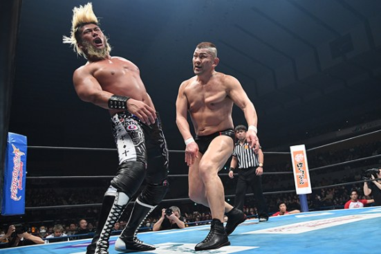 SANADA is rocked after a stiff blow
