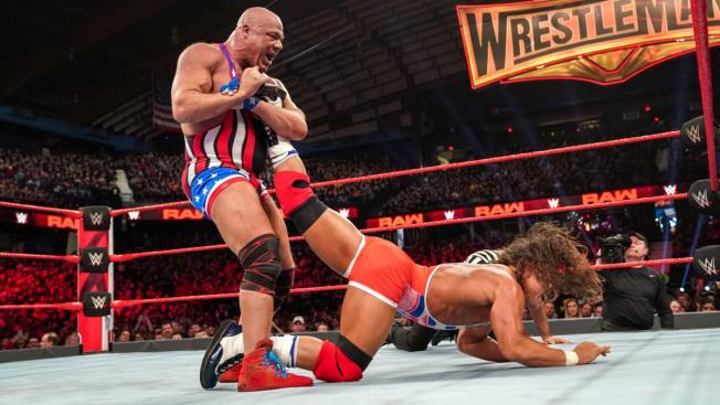 Kurt Angle with Chad Gable in the Angle Lock