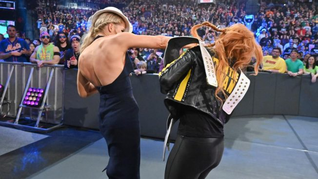 Lacey Evans punches Becky Lynch