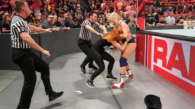 Lacey Evans and Becky Lynch brawl