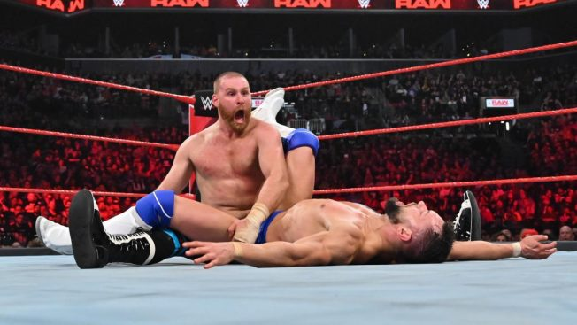Sami Zayn after a Blue Thunder Bomb to Finn Balor