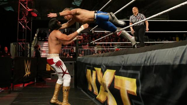 Banks leaps through the ropes