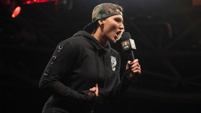 Rhea Ripley mocks the NXT UK crowd