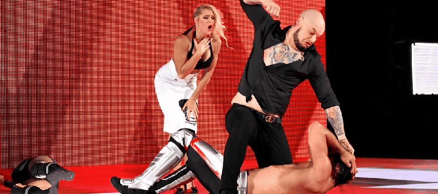 Baron Corbin and Lacey Evans attack Seth Rollins and Becky Lynch