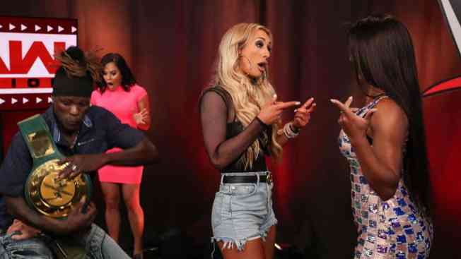Carmella and Renee Michelle argue while Drake Maverick pins R-Truth