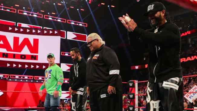 Rikishi, The Usos, and John Cena