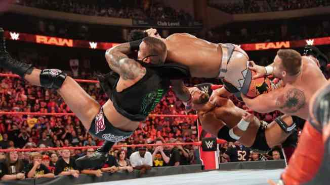 Xavier Woods takes a Shatter-RKO from Randy Orton and The Revival