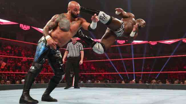Apollo Crews dropkicks Ricochet