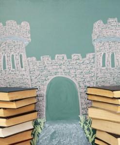 open door with books