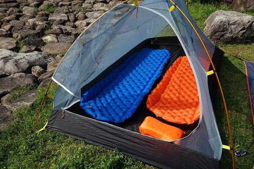 Ultralight Air Mattress Anti Roll-Off Orange in Tent