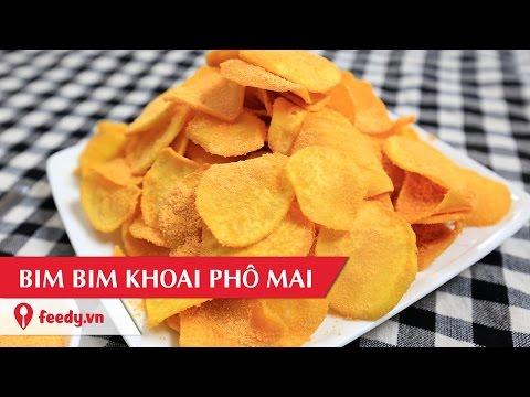 cách nấu khoai lang - Hướng dẫn cách làm bim bim khoai lang phô mai - Sweet potato snack with cheese