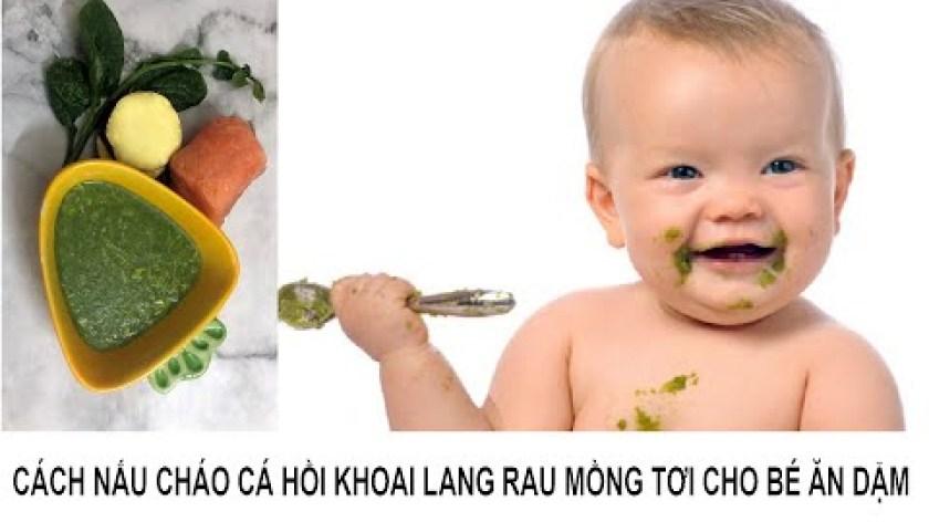 cách nấu khoai lang cho bé ăn dặm - Cách nấu cháo cá hồi khoai lang rau mồng tơi cho bé ăn dặm - Salmon sweet potato porridge for babies