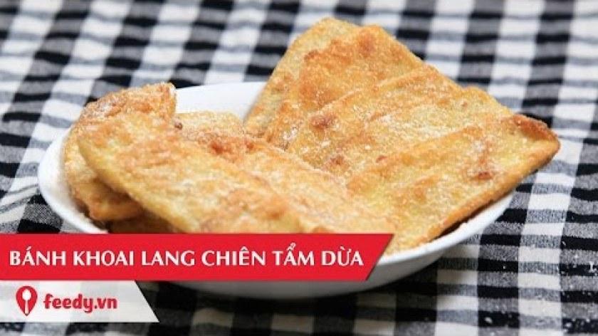 hướng dẫn làm bánh khoai lang - Hướng dẫn cách làm bánh khoai lang chiên tẩm dừa - Fried sweet potato with shredded coconut