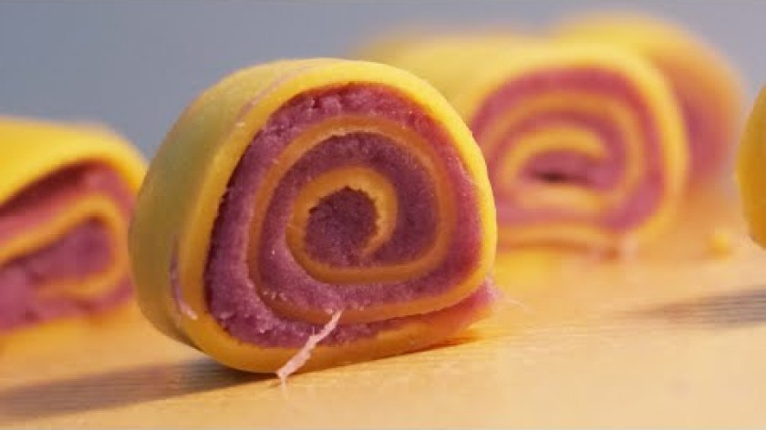 cách nấu khoai lang cho bé ăn dặm - Bánh Cuộn Khoai Lang Tím Cho Bé Trên 7 Tháng Ăn Dặm