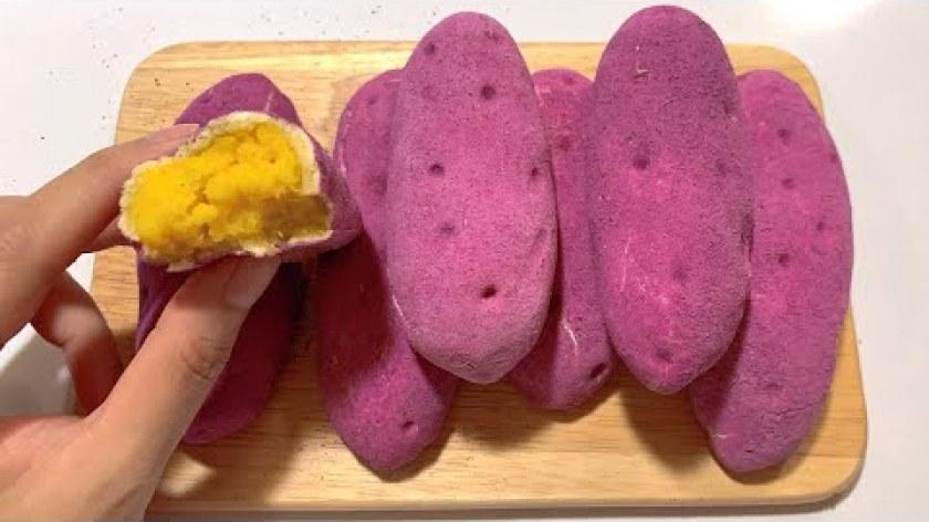 hướng dẫn làm bánh khoai lang - Cách làm bánh khoai lang tím Hàn Quốc thật mà giả, giả mà thật - Sweet potato bread