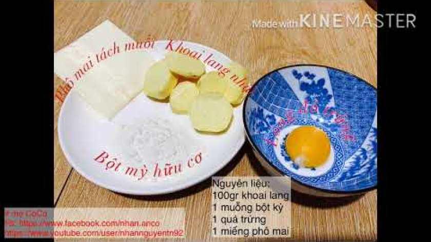 cách nấu khoai lang cho bé ăn dặm - Bánh khoai lang nhân phô mai - ăn dặm BLW