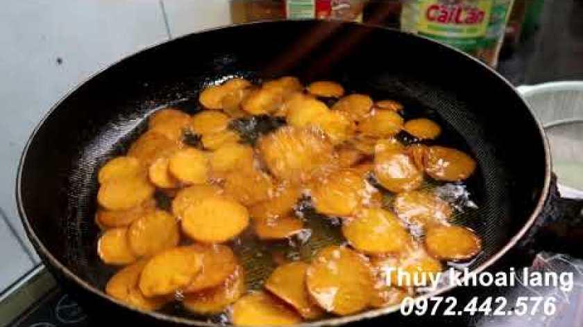 cách nấu khoai lang mật - Cách làm món khoai lang chiên tẩm bơ đường bằng khoai lang mật Lộc Bình