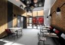 une salle de restaurant industrielle chic