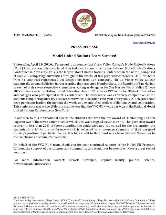 2016.04.19 -Model United Nations Team Success