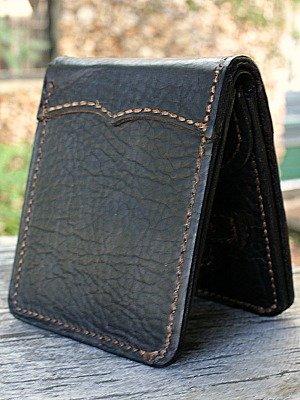 Bi Fold Wallet In Brown-Black Bison Leather From Vvego.com