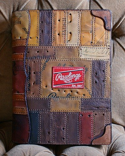 notepad cover made from rawlings baseball glove leather