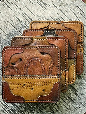 Brown Drink Coasters Made From Recycled Baseball Glove Leather