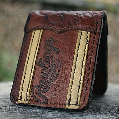 Brown And Tan Bi Fold Wallet Made From Rawling Baseball Glove Leather