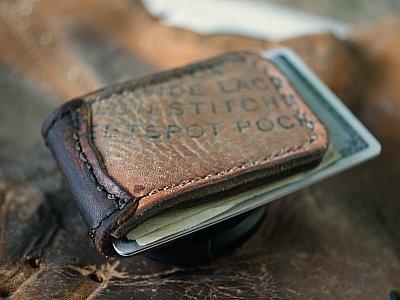 Men's Magnetic Money Clip Made from Baseball Gloves