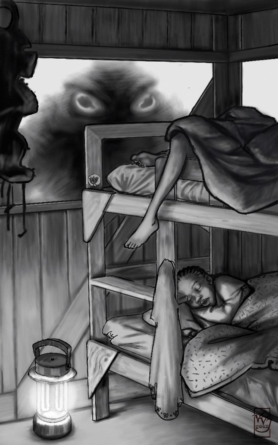 Girls at camp sleep soundly while an ominous figure peers in