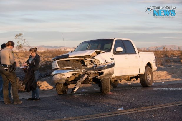 A white truck was struck by a car heading in the opposite direction. (Gabriel D. Espinoza, Victor Valley News)