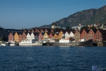A view of the wooden Bryggen. Bryggen is a UNESCO world heritage site - while this part of the town dates back to the Viking age, most of the surviving buildings date back to 18th and 19th century. Bryggen itself was built by Hanseatic merchants in 14th century.